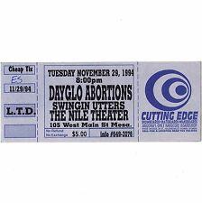 DAYGLO ABORTIONS & SWINGIN UTTERS Concert Ticket Stub MESA AZ 11/29/94 THE NILE