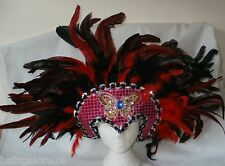 3 Burlesque headdress MARDI GRAS SHOW BUTTERFLY RED & BLACK FEATHERS 70CM WIDE