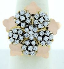 14K YELLOW & ROSE GOLD CUBIC ZIRCONIA FLOWER FLORAL STAR RING