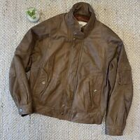 VTG Cougar International Brown Leather Bomber Jacket 80s 90s Korea Mens Large