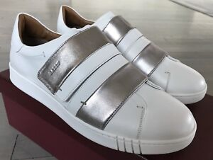 550$ Bally Willet White and Silver Leather Sneakers size US 11 Made in Italy