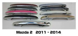 Custom Black OR Chrome Door Handle Overlays 2011 - 2014 Mazda 2 YOU PICK COLOR