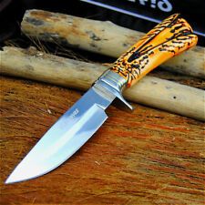 Hunting Handmade Knife Hand Forged Steel Blade Tactical Deer Horn Handle Sheath