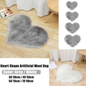 Heart Shaped Fluffy Rug Plush Fluffy Shaggy Fur Carpet Home Bedroom Floor Mat #