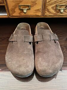 Birkenstock Betula Boston Soft Footbed Brown Suede Leather Fussbett Clog Shoe