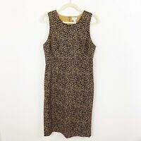 J. Crew Leopard Print Sleeveless Sheath Dress Size 10 Style AD417 Cotton Blend