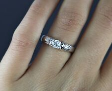 White Hall 18k White Gold Round Baguette Diamond Engagement Ring Band Sz 6