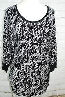 Chris & Carol Black & White Dolman Sleeve Knit Shirt Top Plus Size 1X 14/16