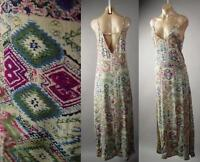 Tribal Pattern Deep V Neck Open Back 70s Sun Slip Long Maxi 225 mv Dress S M L