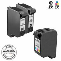 3pk Reman for HP 15 78 C6615DN C6578DN Black & Tri Color Ink Cartridge Se3