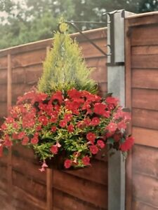 Garden hanging basket Brackets no fixings needed for a concrete fence post x2..