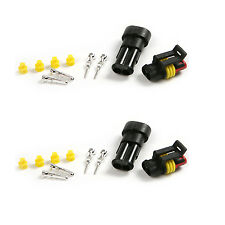 2x Waterproof Car Electrical Audio&Video Installation Wire Connector Plug 2 Pin