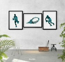 Rugby Player Set of 3 Watercolor Print Rugby Player Man Boy Sports Fan Gift-1739