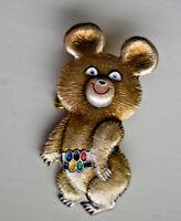 Cute vint1980 Moscow Olympic Games Russian Bear Misha Official Mascot Pin Badge