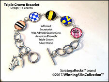 Triple Crown Bracelet - Affirmed - Secretariat - Seattle Slew - Pharoah + Horse