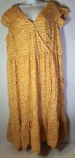 Old Navy Women's 2XL Country Chic Yellow Faux Wrap Short Sleeve Lined Dress