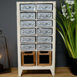 Industrial Storage Unit Freestanding Distressed Metal Cabinet With Drawers New