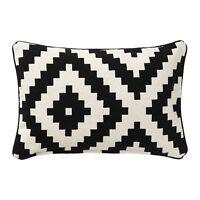 IKEA Lappljung Ruta Cushion Cover 16 X 26 White Black Accent Pillow NWT