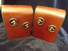 Vintage Mid-century Art Deco Executive Bookends Brown Leather with Gold Ducks