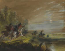 Miller Jacob Alfred Hunting Elk By Moonlight Canvas 16 x 20 #2069