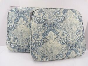 """Pottery Barn Classic Dining Chair Blue Floral Small Petit 17"""" Sq #9054"""