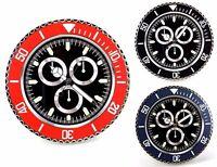 Orologio da Parete Muro in metallo ROLEX Style Tre Contatori Quadrante Nero