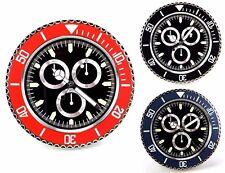 Reloj de Pared de Muro de Metal Modelo Tres Contadores Cuadrante Negro