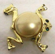Back Emerald Eye Unbranded Costume Fashion Gold Frog Pin Brooch Vintage Pearl