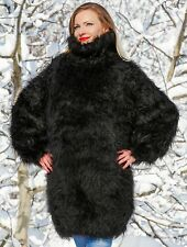 SUPERTANYA BLACK Hand Knitted Mohair Sweater Dress Fuzzy Thick Tneck Jumper