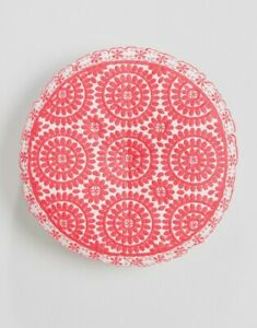 Coral Pink White Round Scatter Cushion, Boho Bohemian Embroider Bombay Duck Souk