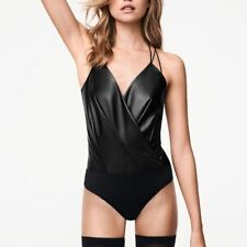 WOLFORD ESTELLA LEATHER LOOK BLACK STRING BODY, SIZE 38 UK 10, USA 6, NWT
