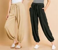 UMGEE Women's Linen Harem Jogger Pants Boho High Waist Slouchy Loose Yoga Baggy