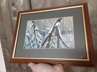 Original Watercolor Painting Vintage Art Signed Winter Landscape Parson Framed