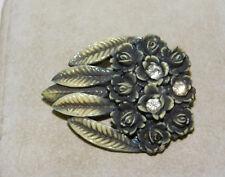Vintage Art Déco Celuloide Antiguo Plástico Flor Rosa Diamante Imitacion Broche