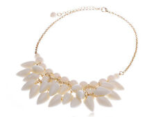 Interesting Shell Like Shark Tooth Cluster Dangling Golden Tone Fashion Necklace