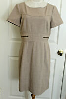 Tahari Womens Shift Dress Size 6 Petite Brown Beige Quarter Sleeve Back Zipper