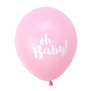 """12 Pack Pink """"Oh Baby""""  BABY Shower Latex Balloons Girl Party Supplies Decor NEW"""