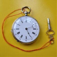Ladies Pocket Watch, Silver, Key Lift, Cylindergang, Good Function, Approx. 1880