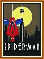 ART DECO SPIDERMAN cross stitch chart x 12.0 x 8.4 in (environ 21.34 cm)