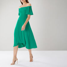 New COAST Bonnie Green Bardot High Low Cocktail Midi Tea Dress Size 12 £99