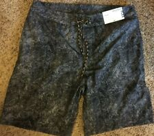 NWT Arizona Mens Black Acid Wash Swimwear Swim Board Shorts Size 34 Retail $42
