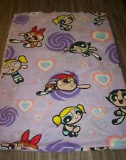 VINTAGE POWERPUFF GIRLS Cartoon Network TWIN SIZE FLAT SHEET FABRIC 2000