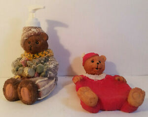 Lot of 2 Adorable Vintage Resin Bears in Sweaters Soap Tray or Lotion Dispenser
