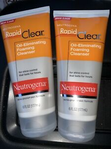 2x Neutrogena Rapid Clear Oil Eliminating Foaming Cleanser Acne Prone 6 oz each