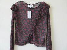Carpe Diem NEW LOOK TOP Blouse Black Red Orange Sheer Festival Floral Sz 12 NEW