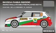 DECALS 1/24 SKODA FABIA S2000 - #36 KREMER - RALLYE ADAC ALLEMAGNE 2014 - DC2426