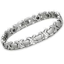 Damen Armband Enegie Magnet Stein Armkette X Herz Design Edelstahl Schmuck S8274