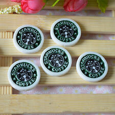 10pcs Starbucks Logo resin cabochon, flat back resin Kawaii round cabochon