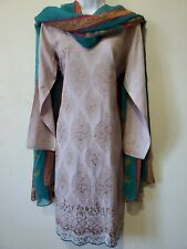 Pakistani 3PC Shalwar Kameez Cotton Embroidery Multi Women Size M NEW