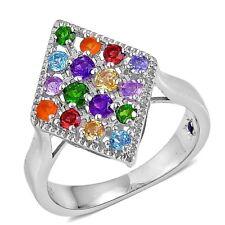 Tanzanite Fire Opal Garnet Chrome Diopside Amethyst Citrine  Ring  Size 5